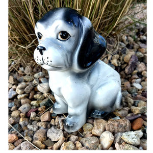 Vtg Ceramic Puppy Dog Flower Pot Planter